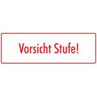 """Aufkleber """"Vorsicht Stufe"""" (weiß-rot)"""