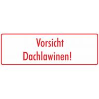 """Aufkleber """"Vorsicht Dachlawinen"""" (weiß-rot)"""