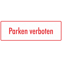 """Aufkleber """"Parken verboten"""" (weiß-rot)"""