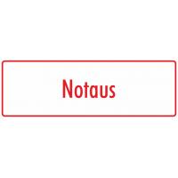 """Aufkleber """"Notaus"""" (weiß - rot)"""