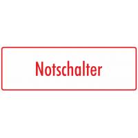 "Aufkleber ""Notschalter"" (weiß - rot)"