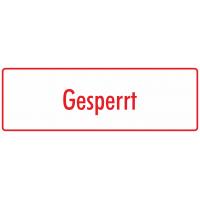 """Aufkleber """"Gesperrt"""" (weiß - rot)"""