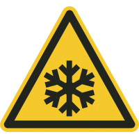 """Aufkleber """"Warnung vor niedriger Temperatur/Frost"""""""