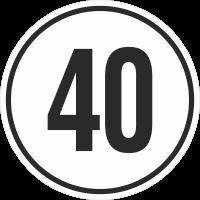 Geschwindigkeitsaufkleber 40 Km (weiß)
