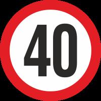 Geschwindigkeitsaufkleber 40 Km (rot)