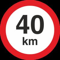 Geschwindigkeitsaufkleber 40 Km (rot mit km-Anzeige)