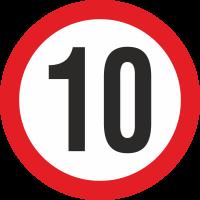 Geschwindigkeitsaufkleber 10 Km (rot)