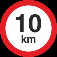 Geschwindigkeitsaufkleber 10 Km (rot mit km-Anzeige)