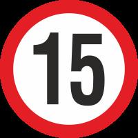 Geschwindigkeitsaufkleber 15 Km (rot)