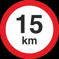 Geschwindigkeitsaufkleber 15 Km (rot mit km-Anzeige)