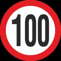 Geschwindigkeitsaufkleber 100 Km (weiß)