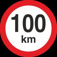 Geschwindigkeitsaufkleber 100 Km (rot mit km-Anzeige)