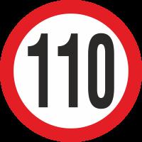 Geschwindigkeitsaufkleber 110 Km (rot)