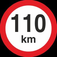 Geschwindigkeitsaufkleber 110 Km (rot mit km-Anzeige)