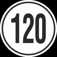 Geschwindigkeitsaufkleber 120 Km (weiß)