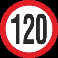 Geschwindigkeitsaufkleber 120 Km (rot)