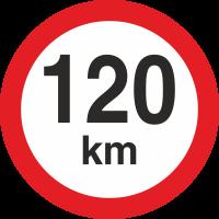 Geschwindigkeitsaufkleber 120 Km (rot mit km-Anzeige)