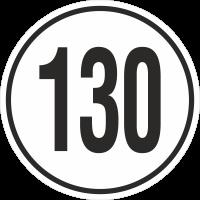 Geschwindigkeitsaufkleber 130 Km (weiß)