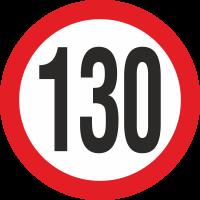 Geschwindigkeitsaufkleber 130 Km (rot)