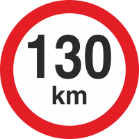 Geschwindigkeitsaufkleber 130 Km (rot mit km-Anzeige)