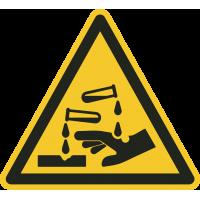 """Aufkleber """"Warnung vor ätzenden Stoffen"""""""