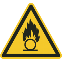 """Aufkleber """"Warnung vor brandfördernden Stoffen"""""""