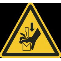 """Aufkleber """"Warnung vor Handquetschung in Abkantpresse"""""""