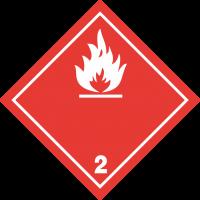 ADR 2 'Entzündliche Gase' Schilder