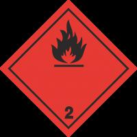 ADR 2 'Entzündliche Gase' Schilder (schwarz)