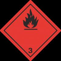 ADR 3 'Entzündliche Flüssigkeiten' Schilder (schwarz)