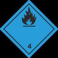 ADR 4 'Gas entzündlich bei Kontakt mit Wasser' Schilder