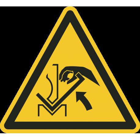 """Aufkleber """"Warnung vor Quetschgefahr der Hand  zwischen Presse und Werkstück."""""""