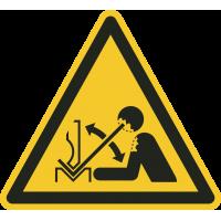"""Aufkleber """"Warnung vor schnell beweglichem Werkstück in der Abkantpresse"""""""