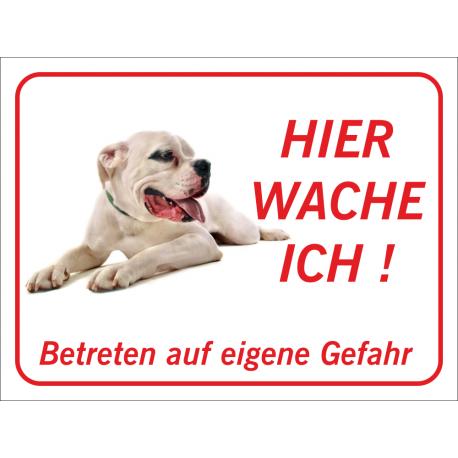 """Dogo Argentino """"Hier wache ich""""-Aufkleber (rot)"""
