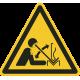 """Aufkleber """"Warnung vor hochschnellendem Werkstück in einer Presse"""""""