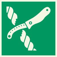 """Lumineszierend Aufkleber """"Messer für Rettungsfloß"""""""