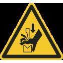 """Schilder """"Warnung vor Handquetschung in Abkantpresse"""""""