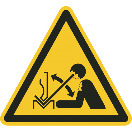 """Schilder """"Warnung vor hochschnellendem Werkstück in einer Presse"""""""