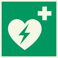 """Lumineszierenden Schilder """"AED (Automatisierter Externer Defibrillator)"""""""