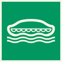 """Lumineszierenden Schilder """"Rettungsboot"""""""