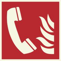 """Lumineszierenden Schilder """"Brandmeldetelefon"""""""