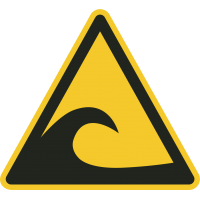 "Aufkleber ""Achtung Tsunami-Gebiet"""
