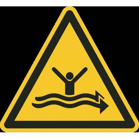 """Aufkleber """"Warnung vor starker Strömung"""""""