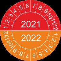 Mehrjahres-Prüfplaketten (rot-orange)