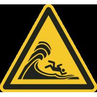 "Aufkleber ""Warnung vor hoher Brandung oder hohen brechenden Wellen"""