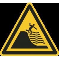 """Aufkleber """"Warnung vor steil abfallendem Strand"""""""