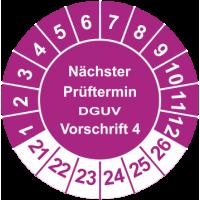 Prüfplaketten 'Nächster Prüftermin DGUV Vorschrift 4'