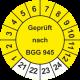 Prüfplaketten 'Geprüft nach BGG 945'