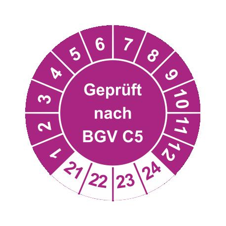 Prüfplaketten 'Geprüft nach BGV C5'
