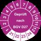 Prüfplaketten 'Geprüft nach BGV D27'